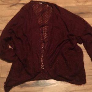 Women's size lg cardigan sweater burgundy
